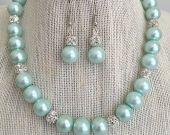 Seafoam Green Bridesmaid Wedding Necklace, Mint Green Pearl Bridal Jewelry, Wedding Jewelry Sets, Bridesmaid Gift, Maid of Honor Jewelry