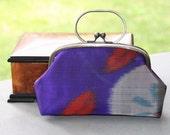 Navy Meisen clutch /Vintage kimono clutch / Vintage Kimono bag/ hand made
