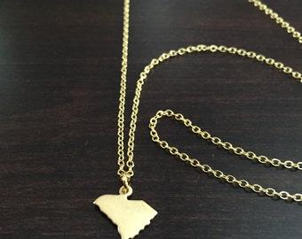 South Carolina Necklace, South Carolina, gold South Carolina necklace, South Carolina jewelry, South Carolina pendant, state necklace