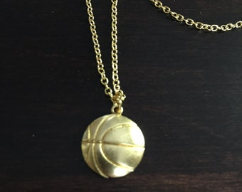 basketball necklace, basketball, gold basketball necklace, gold necklace, necklace