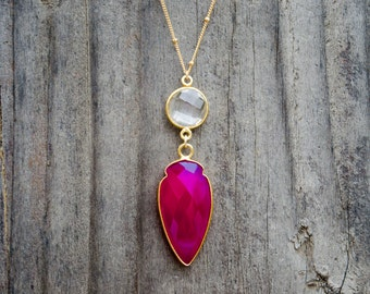 Arrowhead Necklace // Crystal Quartz and Fuchsia Chalcedony // 30 Inch 14k Gold Filled Satellite Chain Necklace