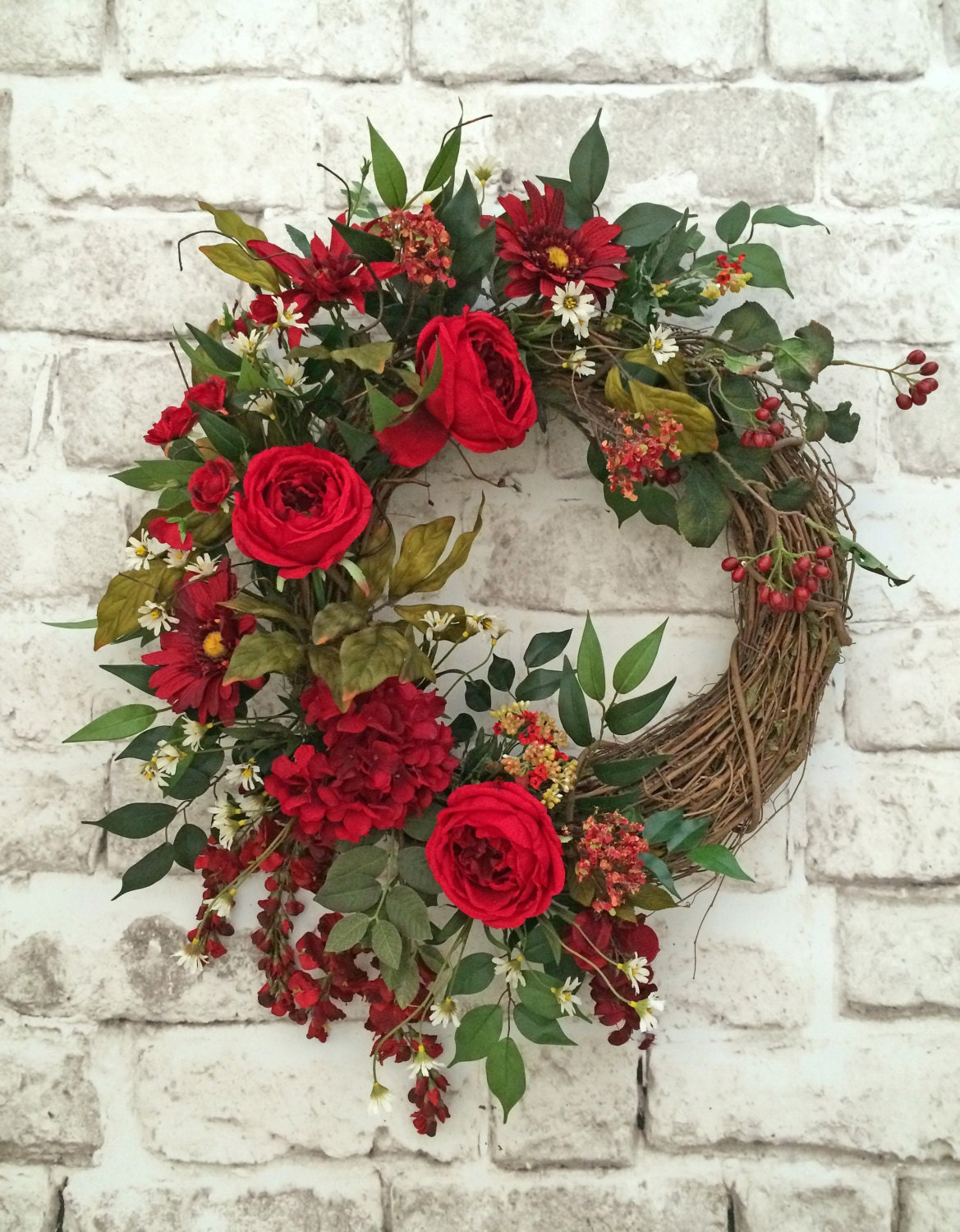 Red Summer Wreath for Door Front Door Wreath Silk Floral