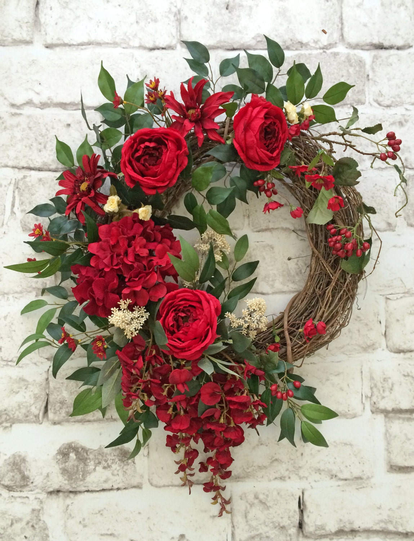 Summer Front Door Wreath: Red Summer Wreath For Door Front Door Wreath Summer Door