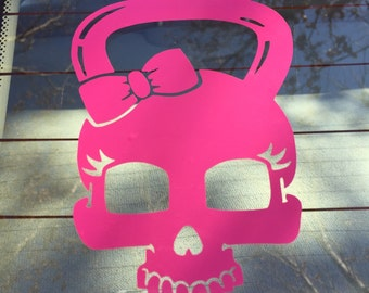 girl skull kettlebell | decal