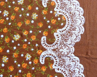 Faux lace and little orange roses print cotton fabric rectangular tablecloth - French 70s vintage