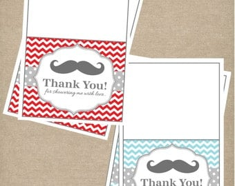 Instant Download:Printable Mustache Thank You Card Red Blue Instant Download Chevron Baby Shower Thank You Cards Mustache Baby Shower DIY