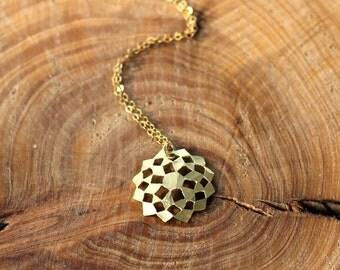 Gold flower of Life Pendant, Flower of Life Necklace, Geometric Necklace, Kabbalah Amulet, Kabbalah Pendant, Gold Mandala Pendant, under100