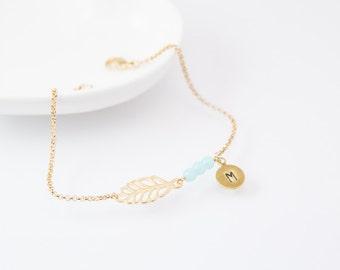 Initial bracelet, personalized bracelet, beaded bracelet, gold initial bracelet, leaf bracelet, leaf charm,cute bracelet, leaf, friendship