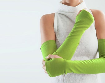 Green fingerless gloves long arm warmers Streetwear  Mitts - FG apple green
