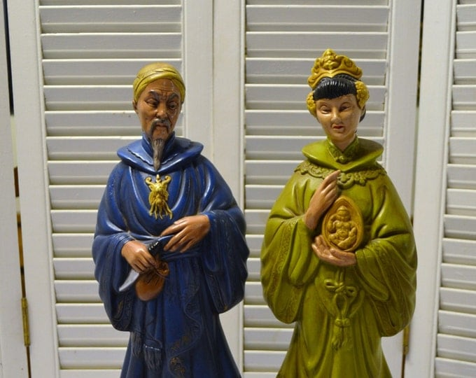 Vintage Asian Statue Man Woman Pair Ceramic Holland Mold Green Blue Panchosporch