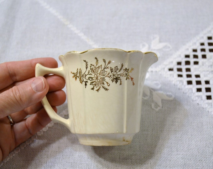 Vintage Knowles Taylor Knowles Creamer White Cream Gold Floral Design Signed KTK PanchosPorch