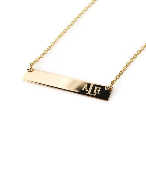monogrammed bar necklace personalized engraved bar