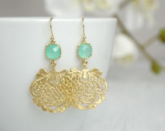 Mint Crystal Gold Filigree Earrings - Mint Green Crystal Earrings - Crystal Dangle Earrings - Bridesmaid Jewelry