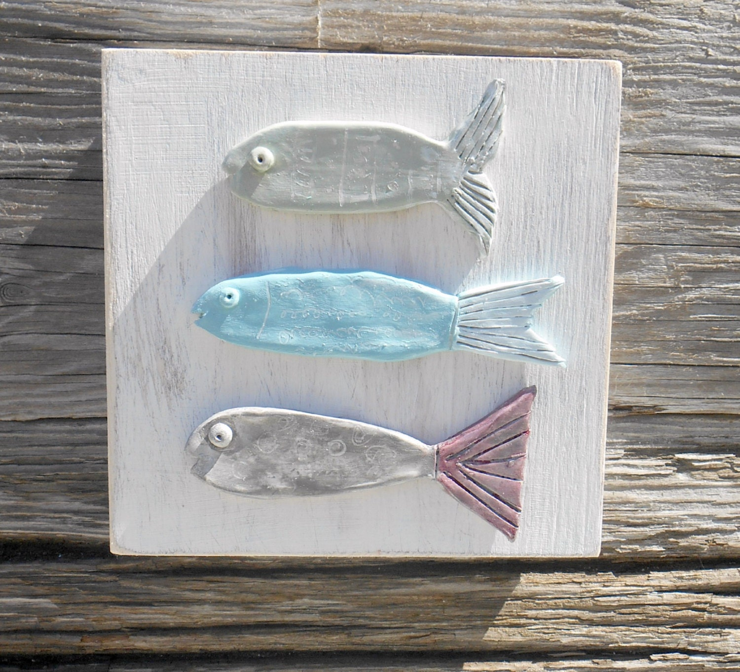 Fish wall decor whimsical fish art handmade fish by lookandsea for Fish wall decor