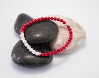 Red coral bracelet, milky white quartz bracelet, red white bracelet, natural stones bracelet, semi-precious stones bracelet, beaded bracelet