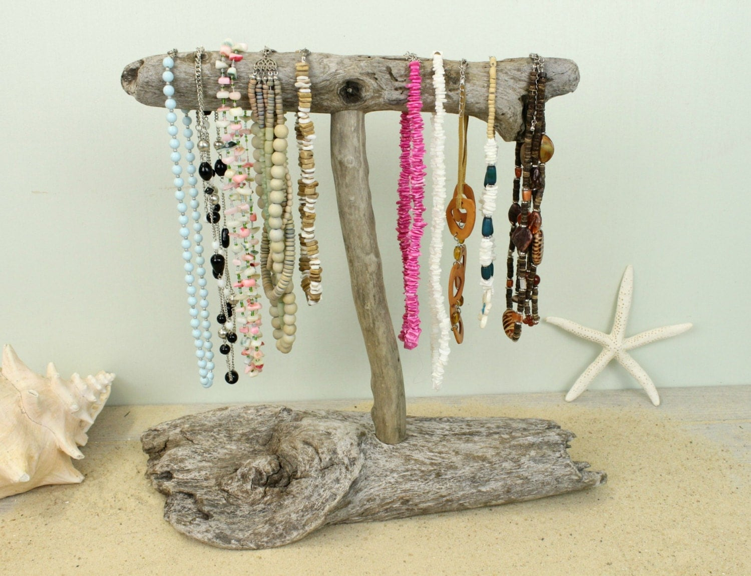 Porte bijoux bois flott collier display stand de bijoux for Porte photo bois flotte