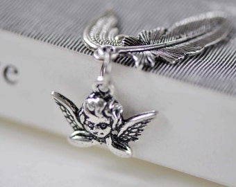 Antique Silver Angel Feather Wing Kit Charms Set of 10 A7895