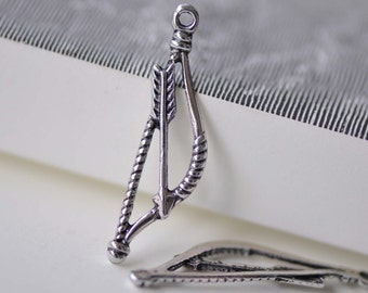 Bow And Arrow Charms Antique Silver Archery Cupid Charms 10x38mm Set of 50 A7678