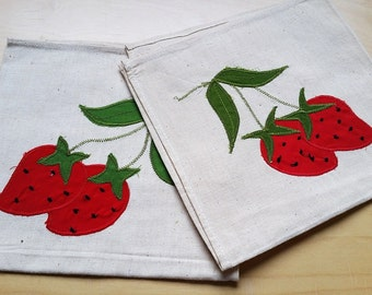 French vintage  linen napkins , strawberries   decor, set of 2