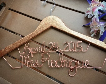SALE Two line glitter hanger, personalized glitter hanger, custom hanger with glitter, glitter hanger, copper hanger, blue glitter hanger