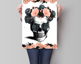Sugar Skull Poster, Skull Print, Room Decor, Faux Gold Art Print, Wall Decor, Dorm Decor, Day of the Dead Poster, Art Print, Apartment