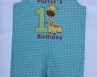 Baby Boy's First Birthday Outfit -Giraffe- perfect for Jungle themed or Zoo themed birthday party- personalized JonJon