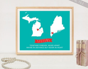 Long distance sisters map printable - Personalized Long Distance Maps poster - DIGITAL FILE!