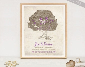 50th Anniversary Gift for Parents - Personalized Mom and Dad 50 Years Family Tree poster - Wedding Anniversary sign wall art - Digital file!