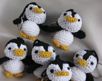 Penguin crochet Key ring