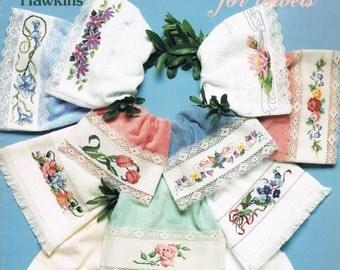 CROSS STITCH - Flower Cross Stitch Designs For Finger Tip Towels - American School Of Needlework #3571 - Bathroom Towels - Sam Hawkins