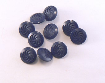 "14 - 9/16"" Plastic Dark Blue Buttons -  Swirl Pattern Shank Buttons - 14 mm Sewing Buttons - Blue Craft Buttons #BE-03-08"