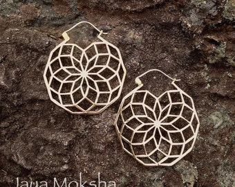 SALE! Brass Fractal Rose Tribal Earring with Sterling Silver Ear Wire, Radiant Sacred Geometry Mandala - E103