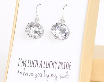 Round Cubic Zirconia / Silver Earrings - Crystal Bridesmaid Earrings - CZ Bridesmaid Gift Jewelry - Sparkly Earrings -Bigger version