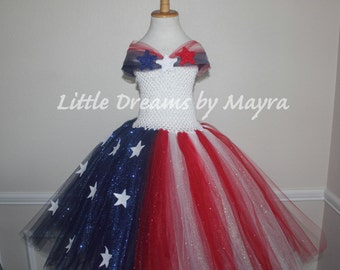 Miss America glitter tutu dress - 4th of July glitter tutu dress - 4th of July pageant dress size nb to 10years