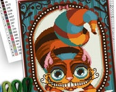 COUNTED STITCH pattern -The Cheshire cat - Alice in wonderland - Lewis Carroll  -PDF Instant download