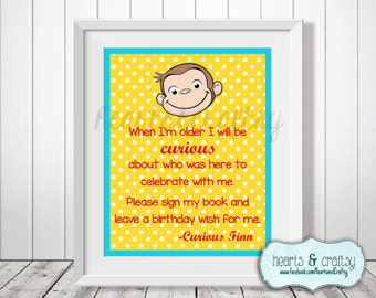 Curious George Birthday Guest Book Sign - Blue or Pink - Personalized Party Sign - FILE to PRINT DIY