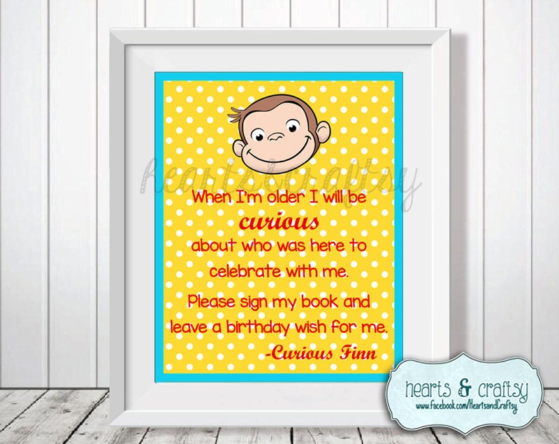 Curious George Birthday Guest Book Sign Blue or Pink