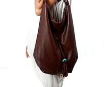 Large dark brown Leather Tote, Hobo bag, with tassel, handmade, bohemian look, turquoise