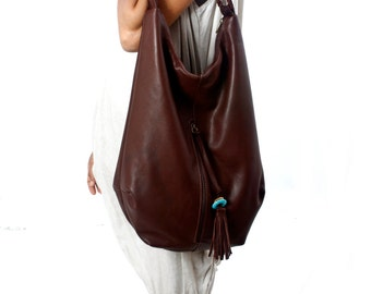 Large dark brown Leather Tote, Hobo bag, with tassel, handmade, bohemian look, turquoise