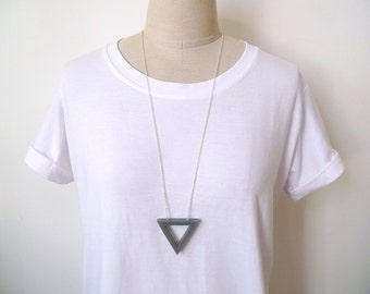Simple triangle necklace, Long necklace,Grey pendant necklace, Geometric necklace