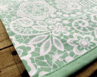 """Kitchen towel, mint lace print,100% cotton, size 20""""X28"""""""
