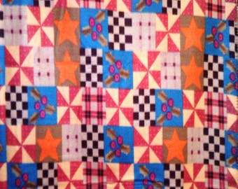 Rustic Stars Quilt Look Fleece Throw