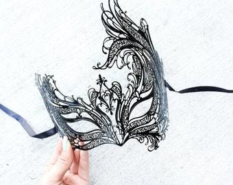 Masquerade Mask, Black Masquerade Mask, Mardi Gras Masks, Black Beautiful Venetian Laser Cut Masquerade Mask with Rhinestones