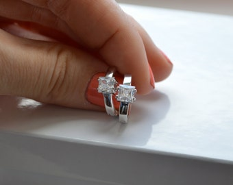 Cubic Zirconia Huggie Earrings - Sterling Silver Hoop Earrings - Silver Earrings - Bridesmaids Gift