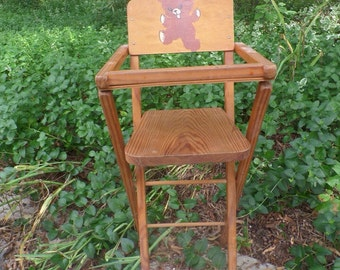 Antique Folding Wooden Doll Highchair Antique Toys Teddy Bear Doll Furniture