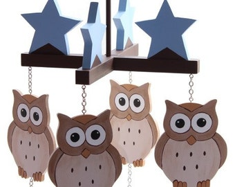 Owls and Stars Ceiling Mobile