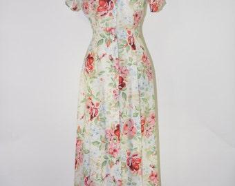 25% OFF white floral print dress / vintage rayon maxi dress / long button front dress / 1990s romantic dress