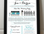 Wedding Silhouette Poster - Wedding Party Silhouette Program - Meet the Bridal Party Silhouette Wedding Program Printable - Wedding Timeline