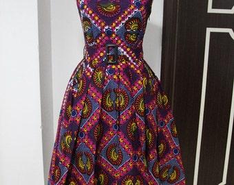 Makanaka African  Print Dress, Tea Length Dress