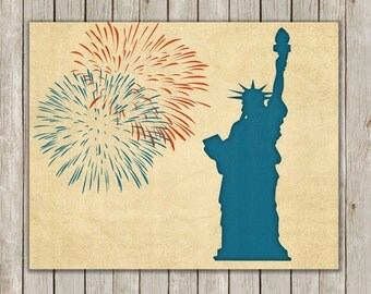 8x10 Fourth of July Printable Art, Statue of Liberty Art Poster Print, Fireworks Art Poster, Holiday Wall Art Decor, Instant Download